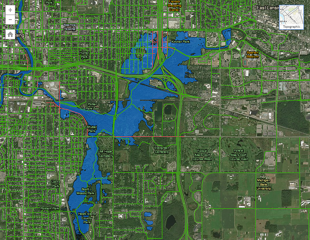 Map of Flooded Lansing Streets